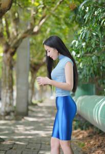 LEOHEX 2021年最新作 ハーフタイツ レースクイーン コスプレ衣装 ブルー Lサイズ