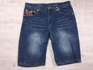 雷嵐 和柄 風神雷神 ちりめん デニム ショートハーフパンツ ジーンズ メンズ 刺繍 82 青