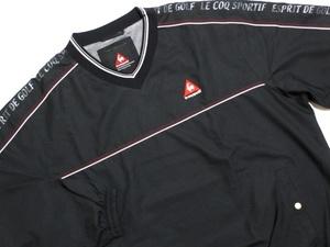 即決 Le coq sportif GOLF ルコックゴルフ ハーフジップアップ ナイロンジャケット L 2WAY長袖半袖 黒 ロゴ入り 防寒防風ジャンパー メンズ
