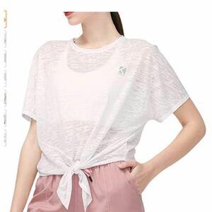 スポーツウェア tシャツ 半袖 ヨガウェア レディース フィットネス リボン結び 5色 (SーL)