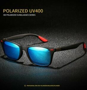 激安 新品 送料込み UV400 偏光レンズ ミラー サングラス 黒/青
