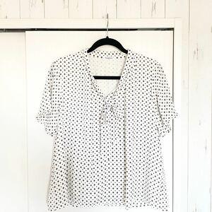シャツ ホワイト 半袖 リボン付 柄 ブラウス カットソー LL XLドット柄 半袖シャツ