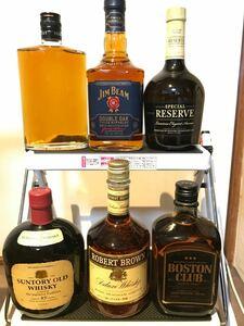 ジャパニーズウイスキー バーボン 6本セット サントリーオールド リザーブ ロバートブラウン コブラ ボストンクラブ ジムビーム