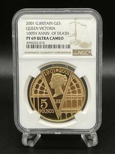 【人気】2001年 イギリス ヤングヴィクトリア女王 没後100年 5ポンド 金貨 NGC PF69UC アンティークコイン モダン 英国 資産 ゴールド