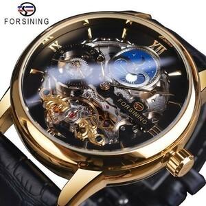 爆安☆メンズ 腕時計 Forsining 海外高級ブランド 機械式 レザーバンド 防水 自動巻き トゥールビヨン スケルトンムーンフェイズ