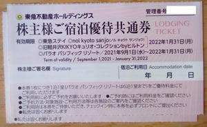 東急不動産HD 株主優待 宿泊優待共通券2枚 (2022.1迄) 送料63円