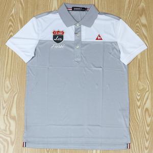 新作 速乾シャツ ルコックメンズ ゴルフ  半袖 シャツ 3L グレー■011