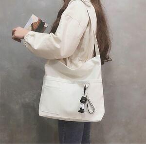 トートバッグ  ショルダーバッグ 白  ホワイト レディースバッグ 韓国  大容量 メンズバッグ キャンバスバッグ