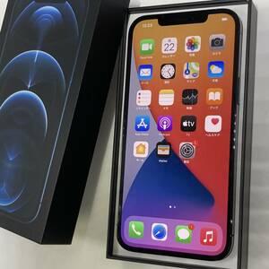 【美品】SIMフリー iPhone 12 Pro Max 128GB パシフィックブルー ≪中古,判定〇,softbank(SIMロック解除済),A2410≫