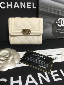 cc様専用 超美品★ シャネル ボーイシャネル 三つ折り財布 キャビアスキン 正規品