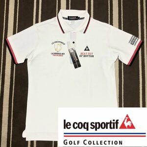 新品タグ付 ルコック スポルティフ ゴルフ かのこ編み半袖ポロシャツ L le coq sportif