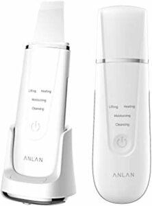 ブラック ANLAN ウォーターピーリング 美顔器 超音波ピーリング 温熱ケア 充電スタンド付き 1台4役 超音波振動 EMS微