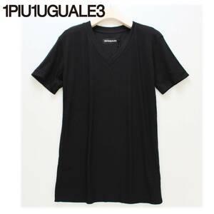 《1PIU1UGUALE3 ウノピゥウノウグァーレトレ》新品 定価22,000円 高級感のある質感 Vネック 半袖Tシャツ カットソー 5(L) A4662