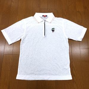 美品 STREET@GREEN ストリートグリーン 吸水速乾 ロゴ刺繍 ハーフジップ ドライ ゴルフシャツ 48(M) メンズ 半袖 ポロシャツ 日本製