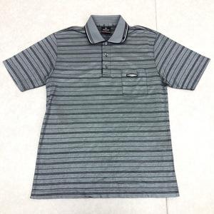 DUNLOP ダンロップ 吸水速乾 ドライ ゴルフシャツ L グレー メンズ 半袖 ポロシャツ ボーダー 日本製 国内正規品
