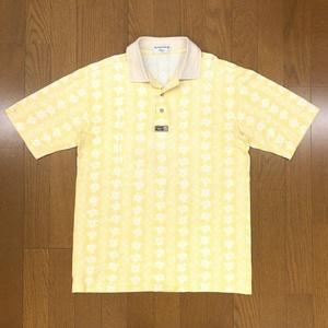 MUNSINGWEAR マンシングウェア リネン混 ロゴモチーフ 総柄 ゴルフシャツ S イエロー 麻 ハイビスカス柄 ポロシャツ メンズ 日本製