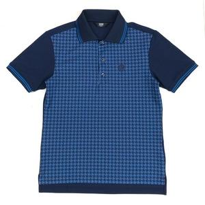 美品 TAKEO KIKUCHI SPORT タケオキクチ 千鳥格子 ドライ ポロシャツ 2 (M) 紺×青 ネイビー×ブルー 半袖 吸水速乾 ゴルフ メンズ 日本製