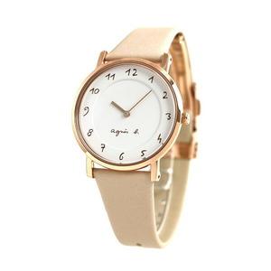 新品 送料無料 アニエスベー 時計 レディース マルチェロ FCSK932 agnes b. ホワイト×ピンクベージュ 腕時計 革ベルト