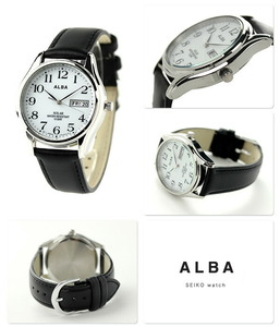 新品 送料無料 セイコー アルバ ソーラー メンズ 腕時計 AEFD543 SEIKO ALBA デイデイト ホワイト×ブラック 時計