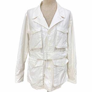 S023 BEAMS BOY ビームスボーイ ジャケット 長袖 上スプリングジャケット ウエストベルト 綿100% コットン cotton レディース ホワイト系
