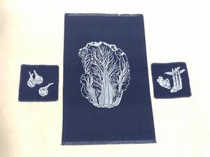 手染め 野菜柄 テーブルセンター コースター 2枚セット 紺 未使用 送料198円 キッチン用品