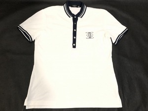 ■□【EPOCA UOMO】エポカ ウォモ/メンズ/半袖ポロシャツ/48[M]白×黒《美品》