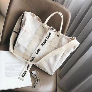 キャンバスバッグトートバッグ大容量 ハンドバッグ ショルダー斜めかけ かばん ベージュ