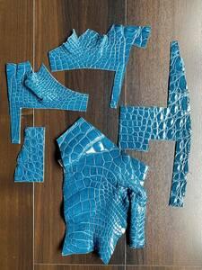 クロコダイル ハギレ ダーク ブルー 青 グレージング 加工 革 シャイニング レザー クラフト ワニ 材料 ハンドメイド 素材 スモールクロコ3