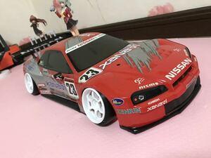 送料無料 1/10 日産 スカイライン GT-R R34 ザナヴィ レーシングカー ラジコン ボディ タミヤ TAMIYA NISSAN SKYLINE XANAVI
