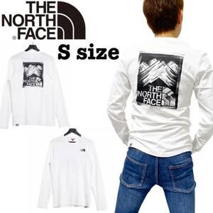 ノースフェイス ロンT 長袖 ボックス Tシャツ NF0A55ACL バックログ ホワイト Sサイズ THE NORTH FACE STROKE MOUNTAIN TEE 新品