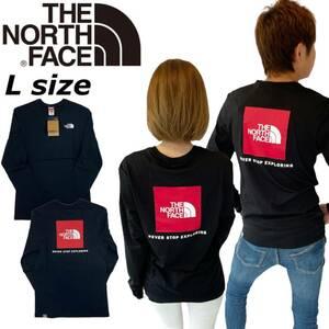 ノースフェイス ロンT レッドボックス バックプリント NF0A493L ブラック Lサイズ THE NORTH FACE L/S RED BOX TEE 新品