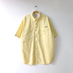 【送料無料】コロンビア PFG アウトドア フィッシングシャツ 半袖シャツ メンズXL 黄色 Columbia ビッグサイズ USA アメリカ古着 CB0649