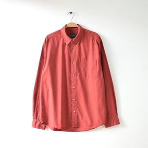 【送料無料】エディーバウアー コットン 長袖シャツ BDシャツ エンジ系 メンズM Eddie Bauer USA アメリカ古着 CA0290