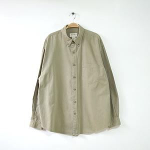 【送料無料】エディーバウアー コットン 長袖シャツ BDシャツ カーキ アウトドア メンズL Eddie Bauer USA アメカジ アメリカ古着 CA0298