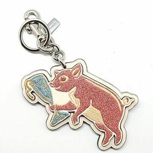 コーチ COACH キーホルダー キーリング 小物 チャーム PARTY PIG パーティピッグ 豚 白 ホワイト系 ピンク系 銀 シルバー系 02-O-21081906