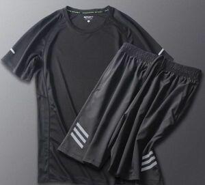 コンプレッションウェア 上下2点セット M メンズ トップス ボトムス 半袖 ハーフパンツ 速乾性 冷触感 トレーニング ジョギング マラソン