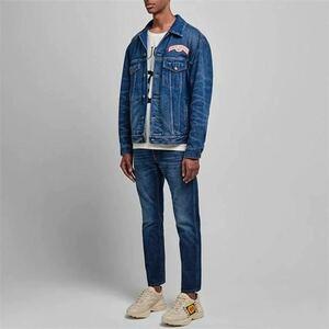 新品未使用 国内正規店購入 GUCCI GGロゴAMOR CAECUS ストライプブルーデニムジャケット サイズ46 Lサイズ