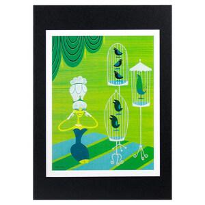 ハワイアンポスター ハワイアンシリーズ Z-508 Shag Art Print Green Wahine アートプリントサイズ:縦27.3×横20.9cm