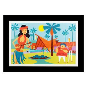 """ハワイアンポスター ハワイアンシリーズ """"Shag Art Print Ukulele Wahine"""" アートサイズ:縦20.6×横30cm(コード無し)"""