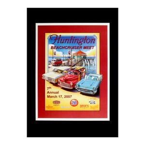 """ハワイアンポスター 車 サーフィンシリーズ """"Huntington Beachcruiser Meet"""" アートプリントサイズ:縦27×横20.5cm(コード無し)"""