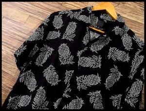 G② 送料無料 H&M エイチアンドエム パイナップル 柄 総柄 ハワイアン 半袖 アロハ シャツ オープンカラー 開襟 M ブラック 黒