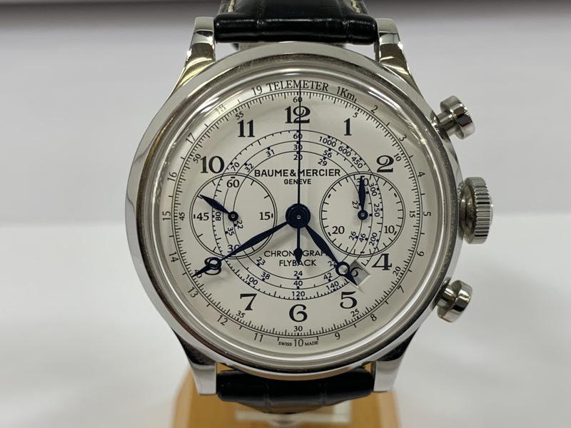良品 ボーム&メルシェ BAUME&MERCIER ケープランド フライバック クロノグラフ MOA10006 メンズ 自動巻き 裏スケ 腕時計