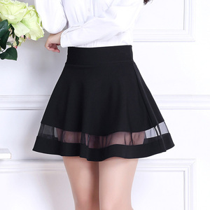 ミニスカート フレア シースルー Aライン 黒色 Lサイズ スカパン