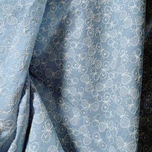 最安値で可愛い淡い青棉麻蝶々刺繍生地ハギレインテリア生地 はぎれ