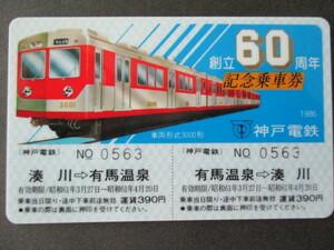 <20>神戸電鉄 創立60周年 記念乗車券(プラスティック・カード) 2枚セット ビニル・ケース入り 沿革・路線図付き 新聞記事付き
