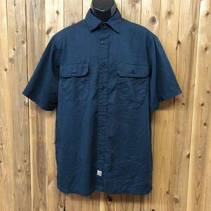 carhartt/カーハート メンズ L ワークシャツ 半袖シャツ 前開き トップス 無地 ポリコットン ネイビー 二つポケット アメカジ USA古着