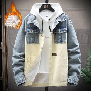 【激安】デニムジャケット メンズ Gジャン 裏起毛 切替 裏ボアジャケット 厚手 防寒 ブルゾン 新品 大きいサイズM-5XLブルー
