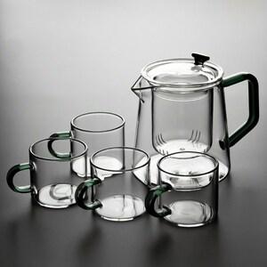 【特売】ティーポット カップ 5点セット おしゃれ グリーン ガラス 耐熱 ティータイム 紅茶 コーヒー 優雅 プレゼント A