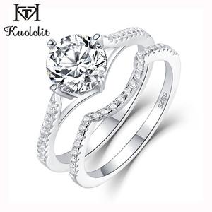 ☆特売☆Kuololit 女性 指輪 ダイヤモンド スターリング ジュエリー アクセサリー