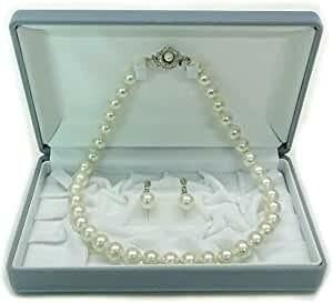 真珠ネックレスとイヤリング 2点セット 長さ42cm 珠10mm 未使用品 送料無料 ホワイト 花珠貝パール 冠婚葬祭 結婚式 葬式